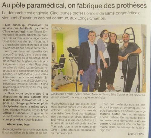 Ouest France de Rennes : Article sur OPR et le cabinet paramédical