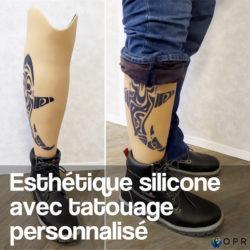 prothèse tibiale avec personnalisation tatouage sur une esthétique silicone aqualeg? Proposée par vos prothésistes en bretagne et en normandie
