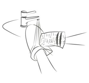 nettoyer le manchon avec un gant et du savon neutre