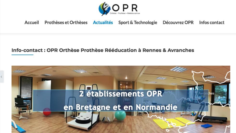 visualisation page contact opr orthese prothese reeducation, orthopédie en ile et vilaine et dans la manche