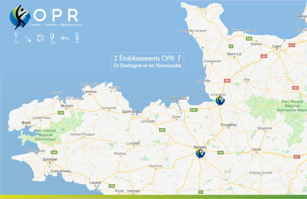 carte pour situer les prothésistes ou orthoprothésistes les plus proches de chez vous en bretagne et en normandie dans nos cabinets de rennes et d'Avranches