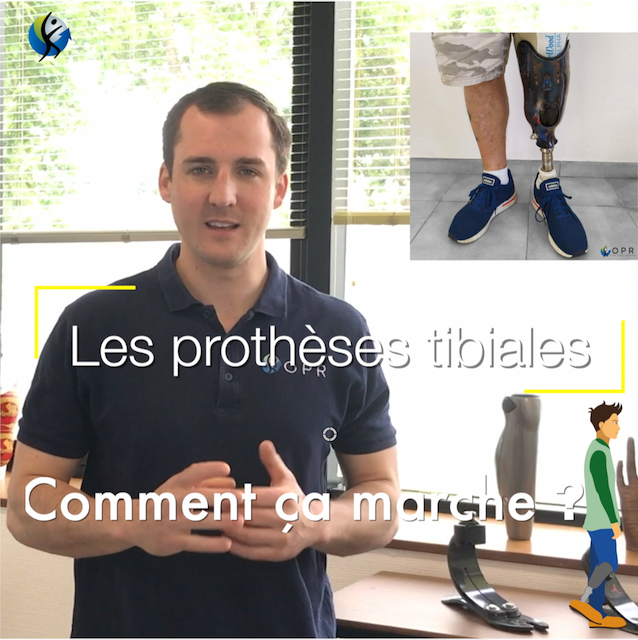 image d'illustration de la serie de video comment ça marche dédiée aux vidéos sur les prothèses pour les personnes amputées il s'agit du premier episode dédié aux prothèses tibiales, c'est à dire aux prothèses destinées aux patients amputés au niveau du tibia