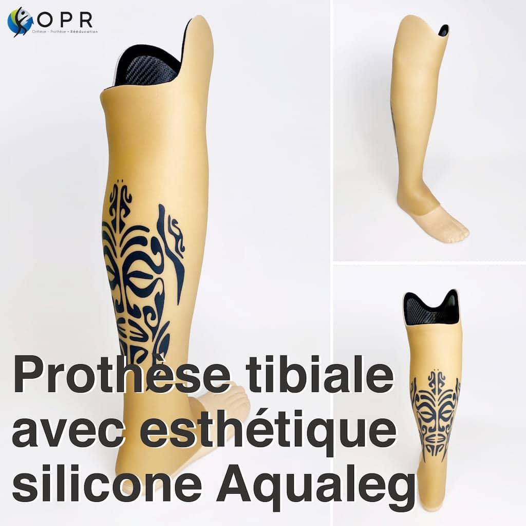 Prothèse avec esthétique silicone et tatouage personnalisé