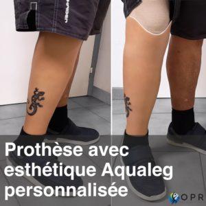 Prothèse esthétique silicone au tatouage lézard